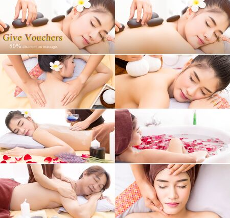 prestar atencion: The spa facial and body massage. Women pay attention to health and beauty. Foto de archivo