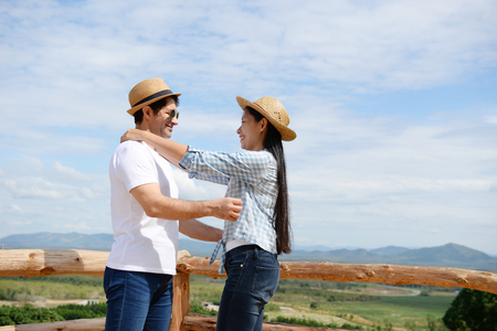 Couples showing love and happy to travel anywhere. Valentine concept. Stock Photo