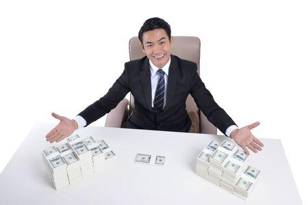 ventures: A successful business ventures. Money dollar on desk Stock Photo