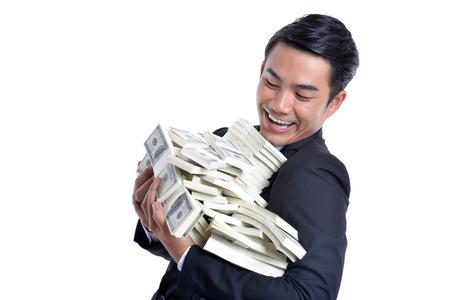 ventures: A successful business ventures. Money dollar in hand. Stock Photo