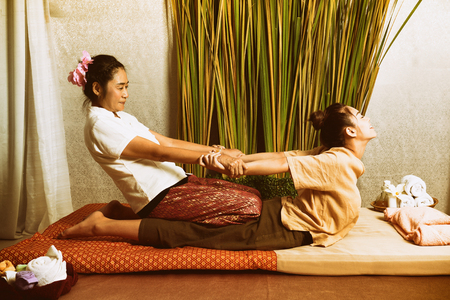Spa and massage : Thai massage and spa for healing and relaxation Stock Photo