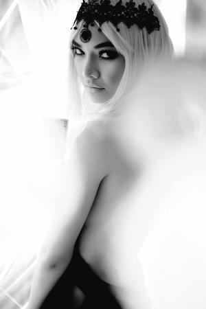 Sexy woman in flirty dress with different angles. black and white picture Stock Photo