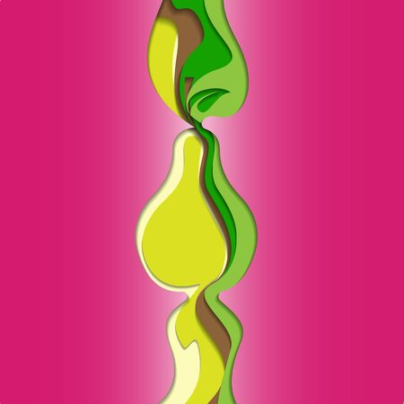 pape: Abstract Vector Pear Cut Out of Colored Pape. Illustration
