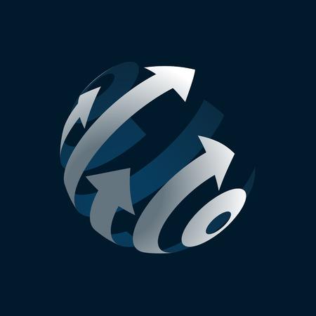 3d logotipo abstracto del globo Vectores