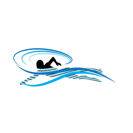 Vector Image of a Swimmer in Stylized Waves Vector