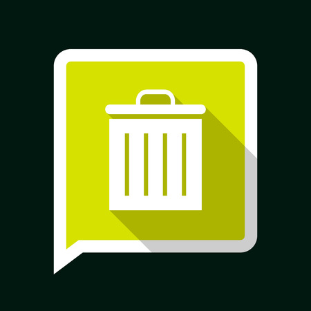 Minimal Green Vector Icon of Bin with long Shadow on Dark Background. Vector