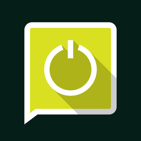 Minimal Green Vector Power Icon with Long Shadow on a Dark Background. Vector
