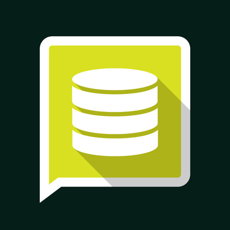 Minimal Green Vector Data Icon with Long Shadow on a Dark Background. Vector