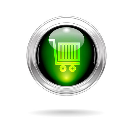 shop button: Vector Green Shiny Shop Button with Metallic Frame