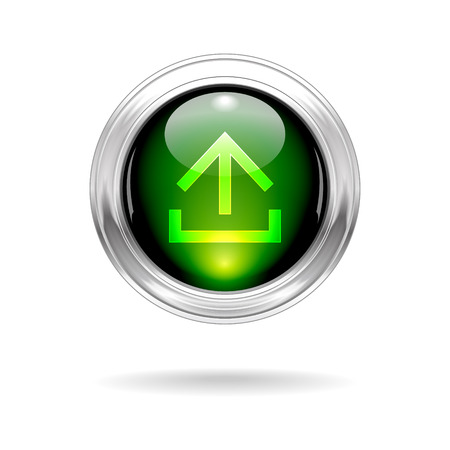 Vector Green Shiny Upload Button with Metallic Frame Vector