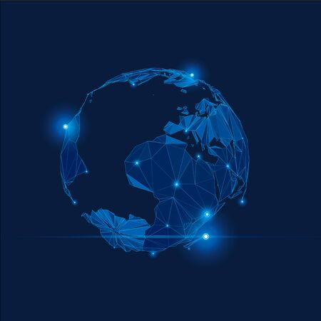 cyrcle: Blue Abstract Vector Globe in Space with Lights