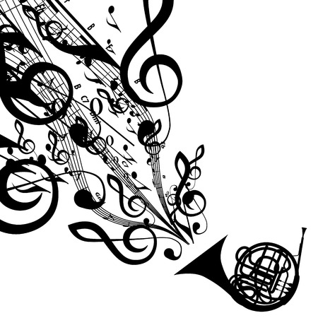 toned: Silhouette of French Horn with Musical Symbols    Illustration