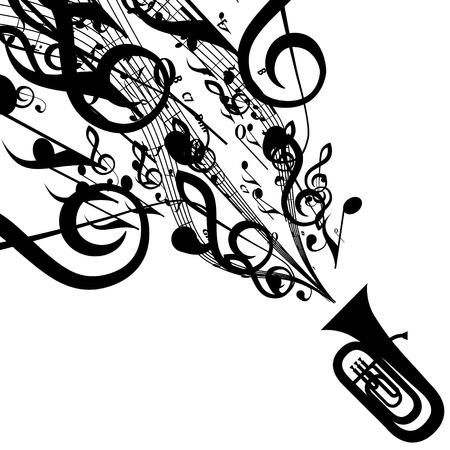 音楽記号とチューバのシルエット