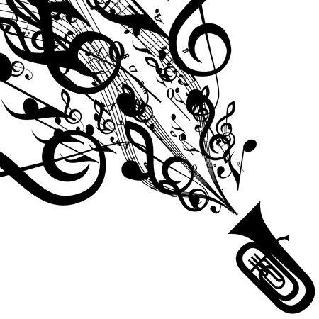 Silhouet van Tuba met muzikale symbolen Stock Illustratie