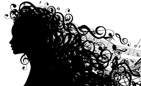 musical: Silhouette of Female Head with Musical Symbols   Illustration