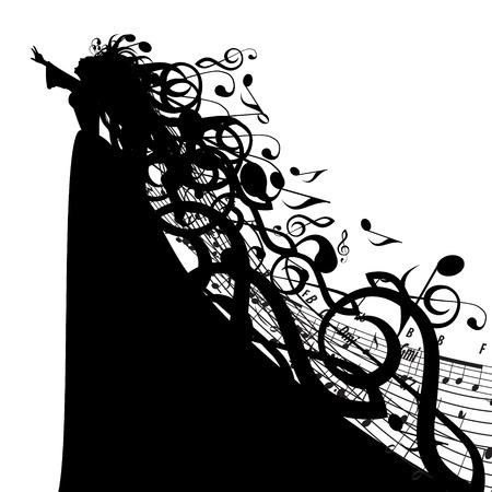 音楽記号を持つ女性のシルエット  イラスト・ベクター素材