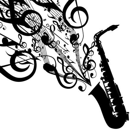 Silhouet van de Saxofoon met muzikale symbolen Stock Illustratie