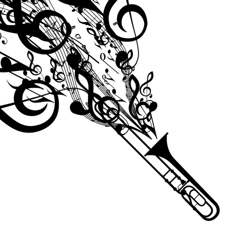 trombón: Silueta del Trombone con s�mbolos musicales Vectores