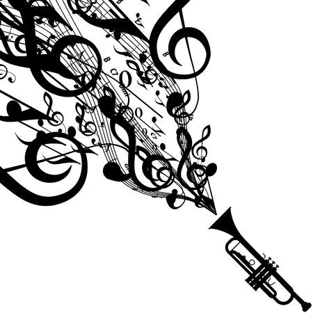 音楽記号を伴うトランペットのシルエット  イラスト・ベクター素材