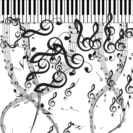 Vector Piano Keys with Musical Symbols  Includes EPS 10 file  and a large more than 15 MP jpg file  Vector