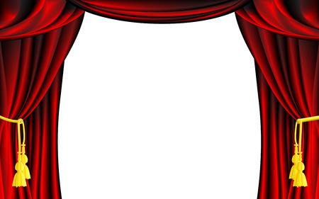 白い背景を持つベクトル赤い劇場の幕  イラスト・ベクター素材