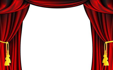 Vector Red Theater Curtain with White Background