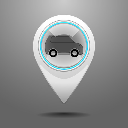 trafic: Glossy Icon with the Symbol of Car