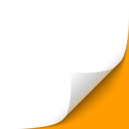 Gewelltes Papier Corner mit orangefarbenen Hintergrund Vektorgrafik