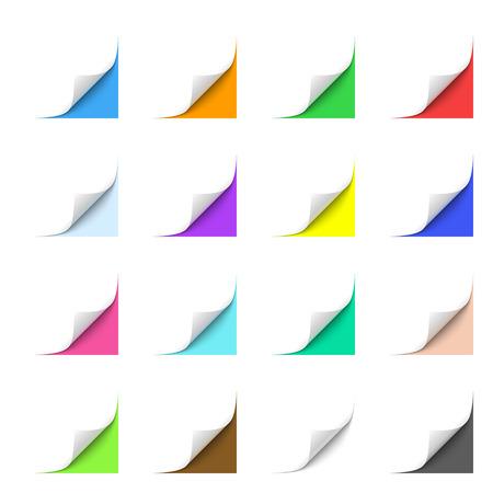 Gekruld papier hoeken met Multicolor Achtergronden Stock Illustratie