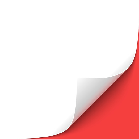 Curled White Paper Corner with Red Background Illustration