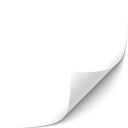 Curled White Paper Corner with White Background Vector