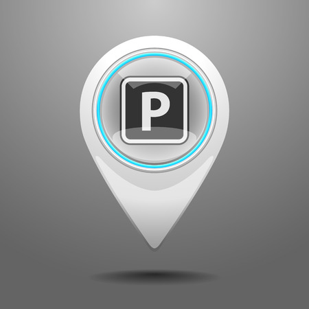 Glossy Pin Icon with the Symbol of Parking Vector