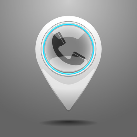 Glossy Pin Icon with the Symbol of Telephone Booth Vector