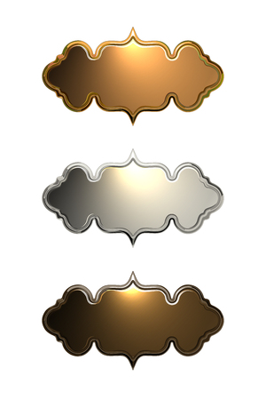 Set of Metal Labels on White Background