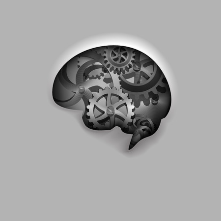 Vector Illustration of a Human Brain Composed of Gears Vector