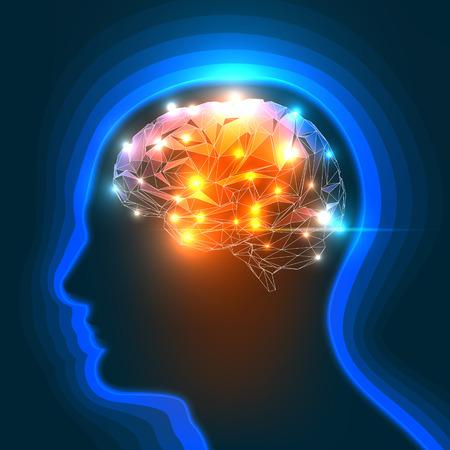 cerebro: Ilustración vectorial de una pista de la silueta del hombre con un cerebro.