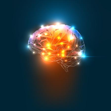 Concept van een Active Human Brain op een donkere achtergrond