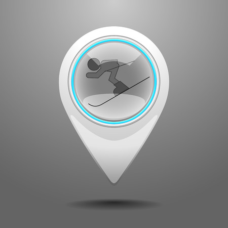 piste: Glossy Pin Icon with the Symbol of Ski Resort.