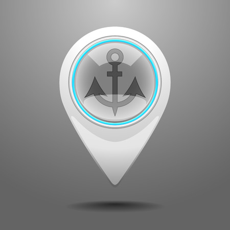 Glossy Pin Icon with the Symbol of Dock.  Vector