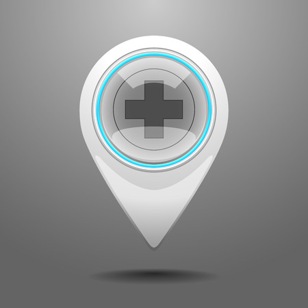 infirmary: Glossy Pin Icon with the Symbol of Hospital.