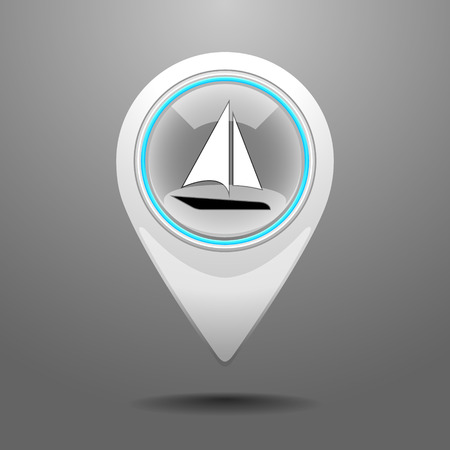 wharf: Glossy Pin Icon with the Symbol of Yachting.