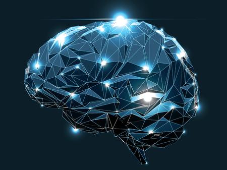 Konzept einer Active Human Brain auf einem dunklen Hintergrund Illustration