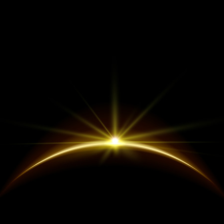 earth space: Rising Sun over the Earth Planet with Space for your Text. Vector Illustration