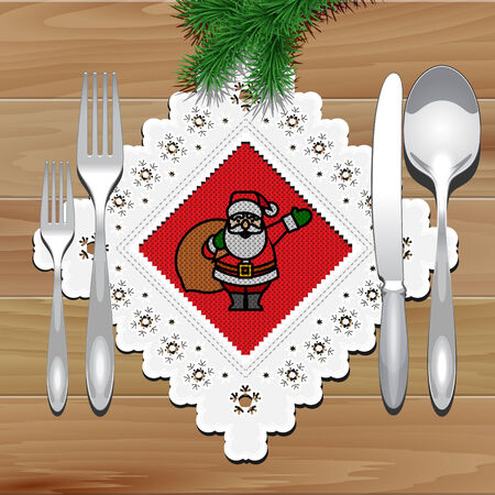 Christmas Napkin with Lace on the Wooden Table. Vector Illustration Vector