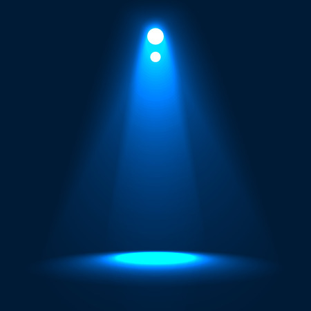 The Lights from the Spotlights Illuminating the Stage. Vector Background Illustration.