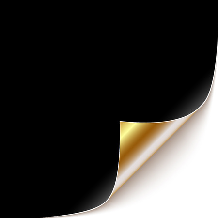 Curled Black Paper Corner with Gold Back Side. Vector Illustration