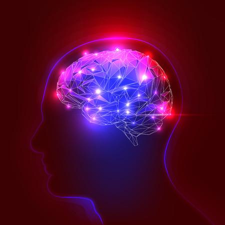 Concept van een actieve menselijke hersenen op een donkere achtergrond