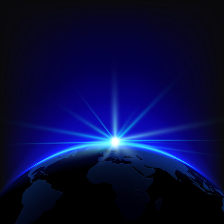 Rising Sun over the Earth Planet with Space for your Text. Vector Illustration