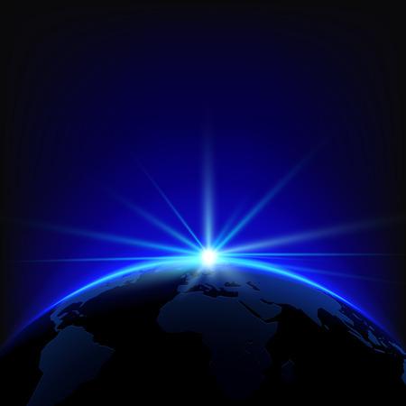sol naciente: Sol naciente sobre el planeta Tierra con el espacio para su texto. Ilustración vectorial