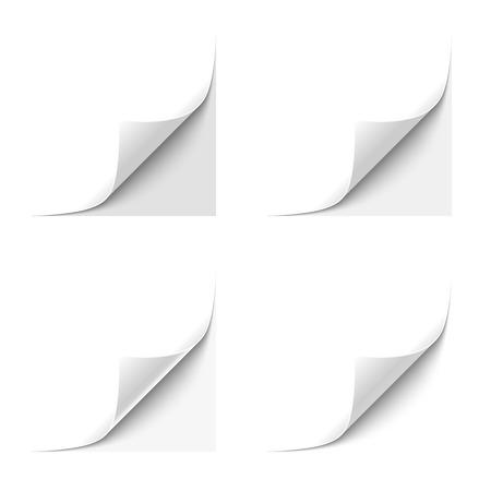 회색 배경에 흰색 종이 웅크 리고 코너